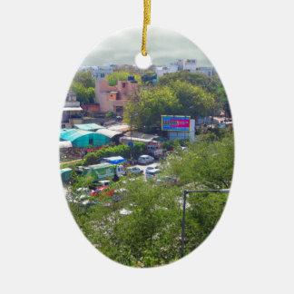 New Delhi India Traffic views from Metro Railways Ceramic Oval Decoration