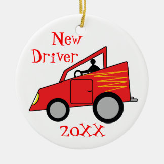 New Driver Car Round Ceramic Decoration
