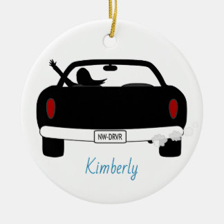 New Driver Female Blue Personalized Ceramic Ornament