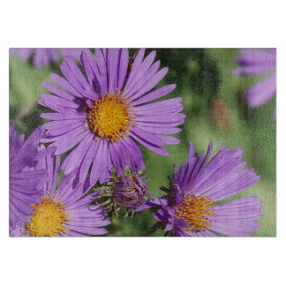 New England Aster Decorative Glass Cutting Board