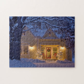 New England Christmas Photo Puzzle with Gift Box