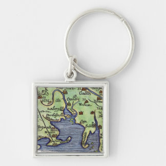 NEW ENGLAND MAP 1677 Silver-Colored SQUARE KEY RING