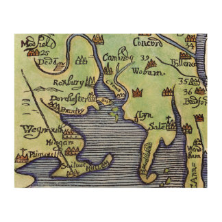 NEW ENGLAND MAP 1677 WOOD WALL ART