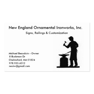 New England Ornamental Ironworks Business Card Templates