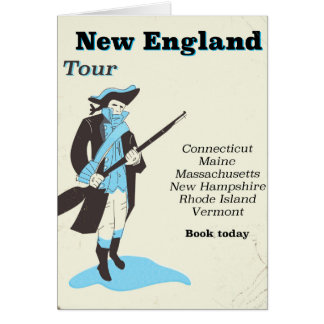 New england Tour vintage travel poster Card