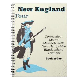 New england Tour vintage travel poster Notebook