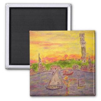 new england village sunset magnet