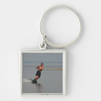 New England Wakeboarder Silver-Colored Square Key Ring