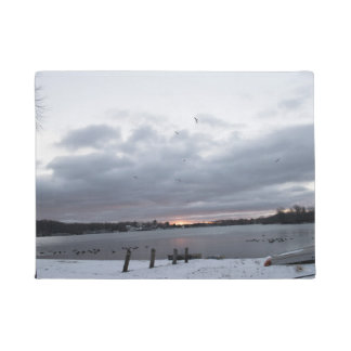 New England Winter Lake Scene Doormat