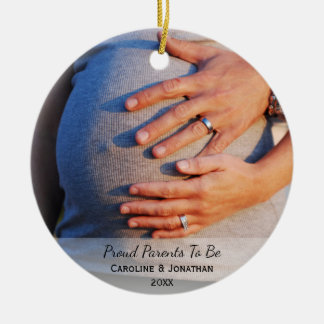 New Expecting Parents to Be Simple Classic Photo Ceramic Ornament