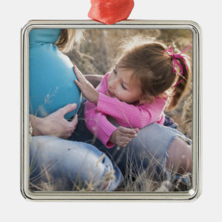New Family Baby Silver-Colored Square Decoration