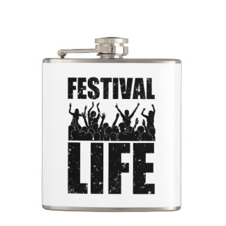 New FESTIVAL LIFE (blk) Hip Flask