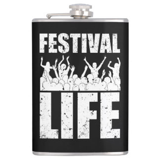 New FESTIVAL LIFE (wht) Hip Flask