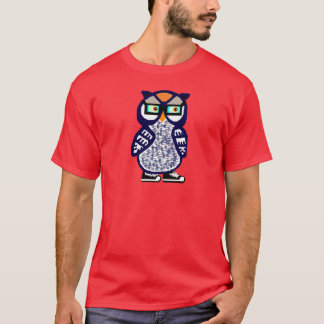New Funny Hipster Navy Blue Owl Men's Red T-shirt