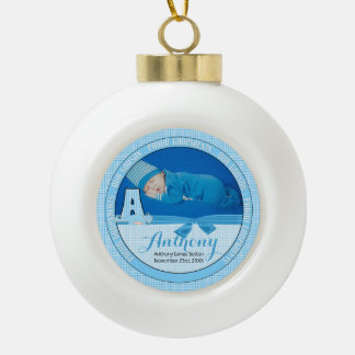 New Godparents Blue Gingham Baby Monogram A Ceramic Ball Christmas Ornament