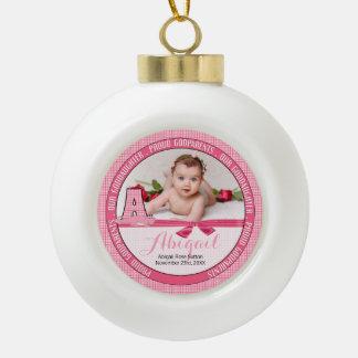 New Godparents Monogram A Pink Baby Photo Ceramic Ball Decoration