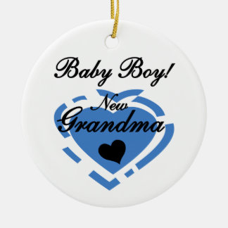 New Grandma Baby Boy Blue Heart Gifts Ceramic Ornament