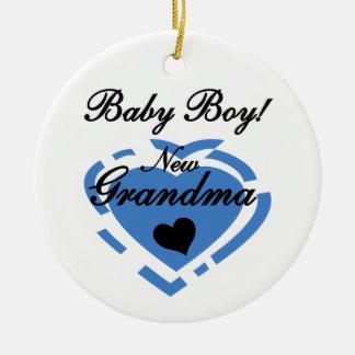 New Grandma Baby Boy Blue Heart Gifts Round Ceramic Decoration