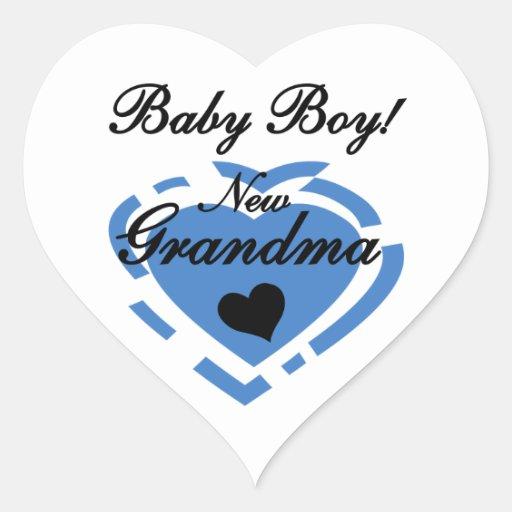 New Grandma Baby Boy Blue Heart Gifts Heart Sticker