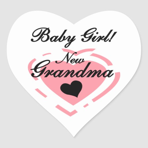 New Grandma Baby Girl Pink Heart Gifts Stickers