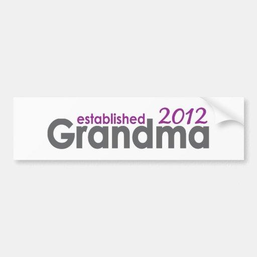 New Grandma Established 2012 Bumper Sticker