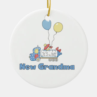 New Grandma Truck It's a Boy Gifts Round Ceramic Decoration