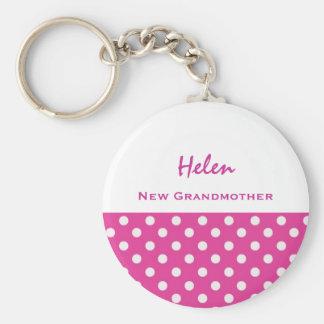 New Grandmother Cute Polka Dot Keychain Gift