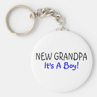 New Grandpa Its A Boy Basic Round Button Key Ring