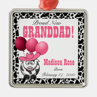 New Grandpa of a Cowgirl in Pink Metal Ornament