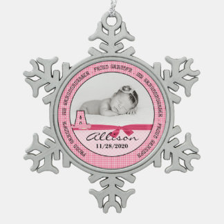 New Grandpa Pink Baby Monogram A Pewter Snowflake Decoration