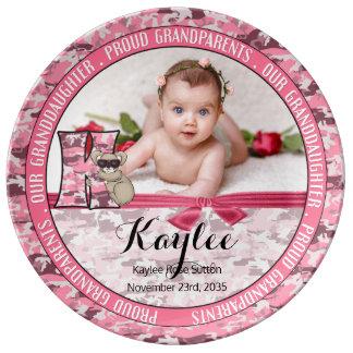 "New Grandparents Letter ""K"" Pink Camouflage Koala Plate"
