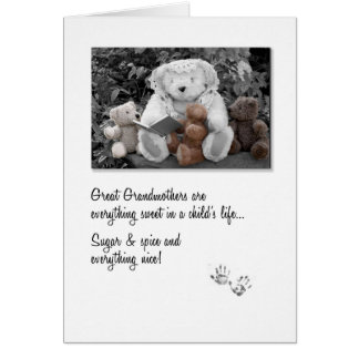 New Great Grandma Teddy Bear Storytime Card