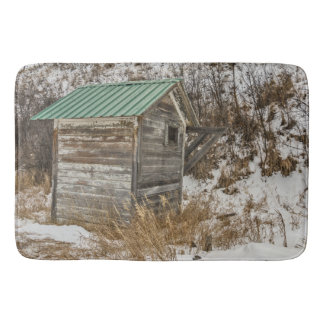 New Green Metal Roof on Outhouse Bath Mat