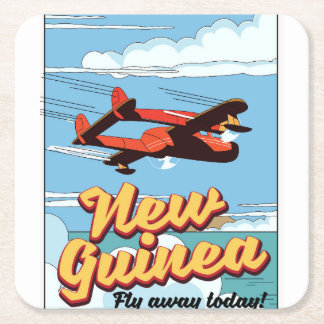 New Guinea adventure poster. Square Paper Coaster