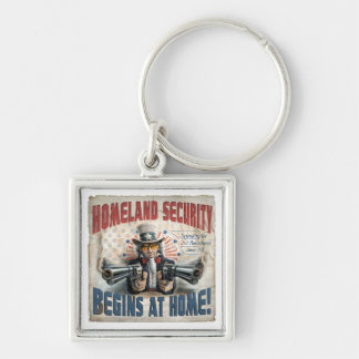 New Gun Rights Gear Silver-Colored Square Key Ring