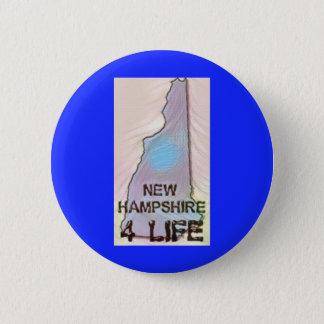 """New Hampshire 4 Life"" State Map Pride Design 6 Cm Round Badge"