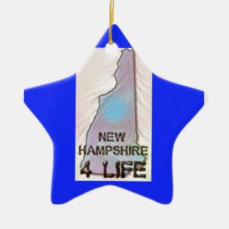 """""""New Hampshire 4 Life"""" State Map Pride Design Ceramic Ornament"""
