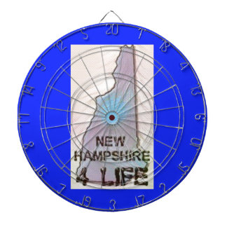 """New Hampshire 4 Life"" State Map Pride Design Dartboard"