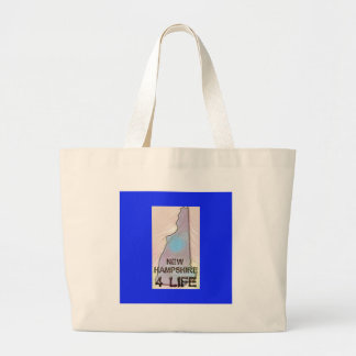 """New Hampshire 4 Life"" State Map Pride Design Large Tote Bag"