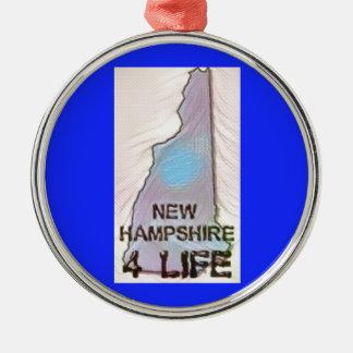 """New Hampshire 4 Life"" State Map Pride Design Metal Ornament"
