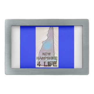 """New Hampshire 4 Life"" State Map Pride Design Rectangular Belt Buckle"