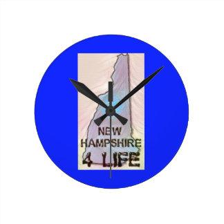 """New Hampshire 4 Life"" State Map Pride Design Round Clock"