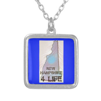 """""""New Hampshire 4 Life"""" State Map Pride Design Silver Plated Necklace"""