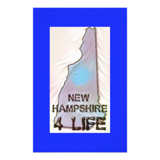 """""""New Hampshire 4 Life"""" State Map Pride Design Stationery Paper"""