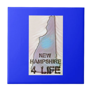 """New Hampshire 4 Life"" State Map Pride Design Tile"