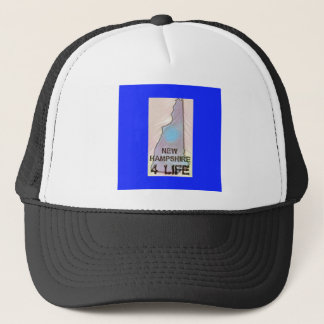 """New Hampshire 4 Life"" State Map Pride Design Trucker Hat"
