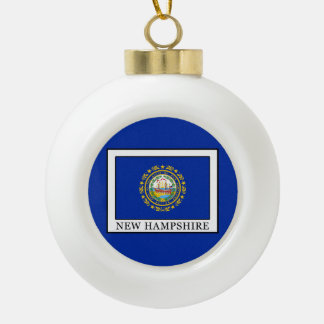 New Hampshire Ceramic Ball Christmas Ornament