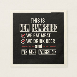 New Hampshire Eat Meat Drink Beer Awesome Disposable Napkin
