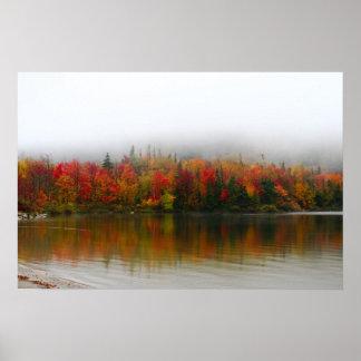 new hampshire fall foliage echo lake poster