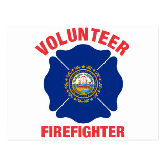 New Hampshire Flag Volunteer Firefighter Cross Post Card